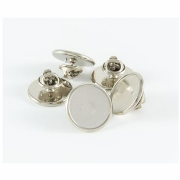 Premium Badge Blank round 15.5mm silver clutch fitting